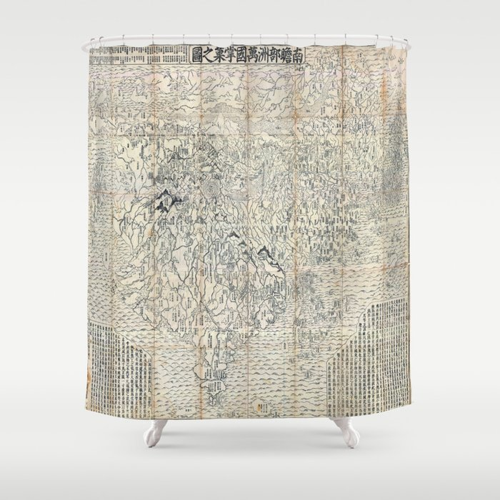 first japanese buddhist world map showing europe america and africa print from 1710 shower