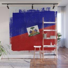 Haitian Distressed Halftone Denim Flag Wall Mural