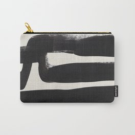 Mid Century Modern Minimalist Abstract Art Brush Strokes Black & White Ink Art Ancient Stripes Carry-All Pouch