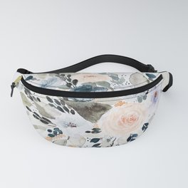 Loose Blue and Peach Floral Watercolor Bouquet  Fanny Pack