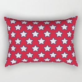Patriotic Stars on Red Rectangular Pillow