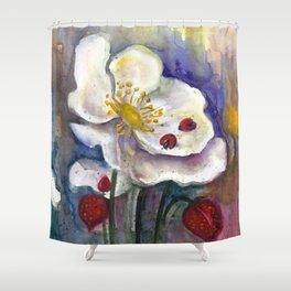 Lady Birds, Strawberry Flowers Shower Curtain