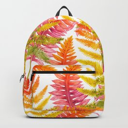 Hand painted pink orange watercolor fall fern floral Backpack