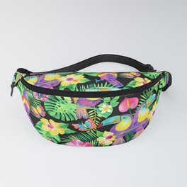 Tropical Toucans in Watercolor Black Fanny Pack