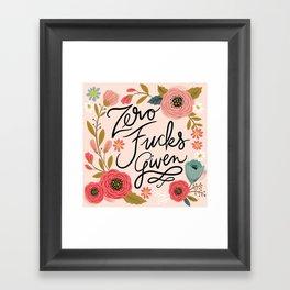 Pretty Swe*ry: Zero Fucks Given, in Pink Framed Art Print
