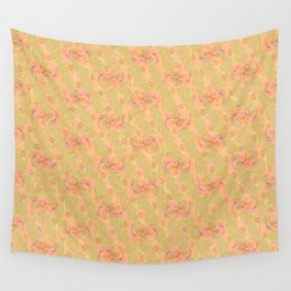 Soft Peach Floral Abstract Wall Tapestry