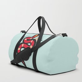Red & Teal Colored Snake and Foliage Design Duffle Bag