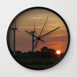 Windräder im Sonnenuntergang Horumersiel Wall Clock