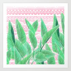 Summer green watercolor tropical leaf white pink aztec geometric pattern Art Print