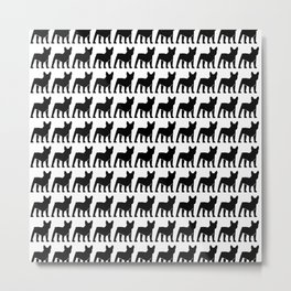 Hounds-tooth pattern (french bulldogs) Metal Print