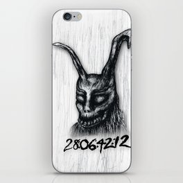 "Donnie Darko Frank The Rabbit ""28 Days...."" iPhone Skin"