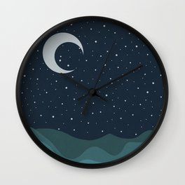 Starry Night over the Ocean Wall Clock