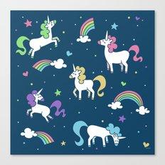 Unicorns and Rainbows - Teal Canvas Print