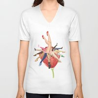 shoe V-neck T-shirts featuring Shoe Love by Wendy Ding: Illustration