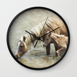 Safe By Mother's Side - South Steens Mustangs Wall Clock