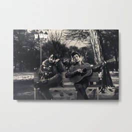 Bob Dylan & Stanley Kubrick Sittin' on a Bench Metal Print