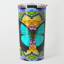 PURPLE AMETHYST BLUE-BLACK BUTTERFLY MANDALA ART Travel Mug