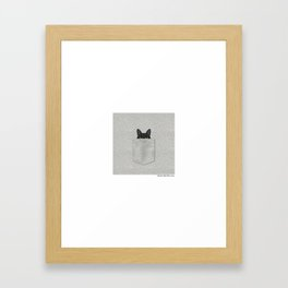 Pocket Black Cat Framed Art Print
