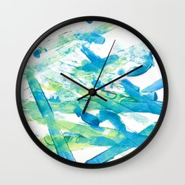 Blue Green and Yellow Wall Clock