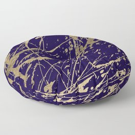 Elegant faux gold modern navy blue paint splatters Floor Pillow