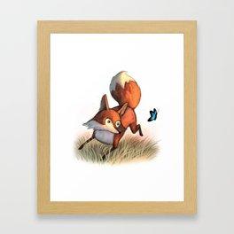 Dancing Fox & Butterfly / illustration Framed Art Print