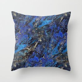 Precious Lapis Lazuli Stone Mineral Blue Gold Throw Pillow