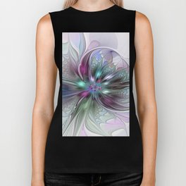 Colorful Fantasy Abstract Modern Fractal Flower Biker Tank