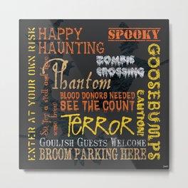 Halloween Chalkboard 1 Metal Print