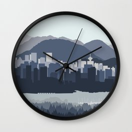 Vancouver Skyline in Blues Wall Clock
