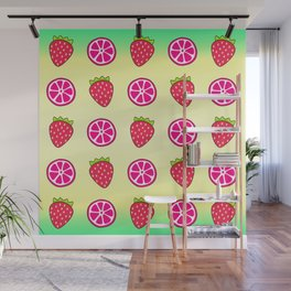Tropical exotic grapefruit slices and sweet red strawberries summer fruity sunny yellow, pink and green cute pattern design. Wall Mural