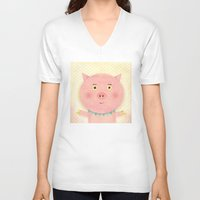 pooh V-neck T-shirts featuring Piggy Pooh by Silva Ware by Walter Silva