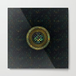 Marble and Abalone Endless Knot  in Mandala Decorative Shape Metal Print