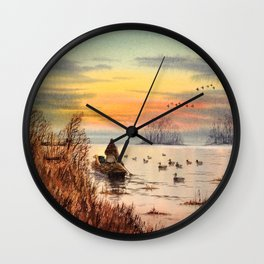 A Great Day For Hunting Ducks Wall Clock
