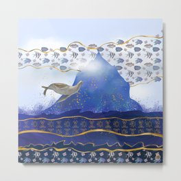 Flying Sea Lion Over Rising Oceans - Surreal Climate Change Painting Metal Print