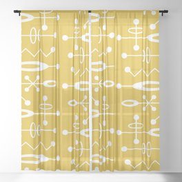 Mid Century Modern Radioactive Surfer 251 Mustard Yellow Sheer Curtain
