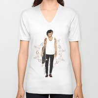 zayn V-neck T-shirts featuring Skater Zayn  by Coconut Wishes