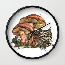 Mushroom and Cat Wall Clock