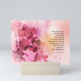 Serenity Prayer Quince Fence 3 Pink Mini Art Print