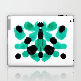Neon Turquoise & Black Ink Blot Pattern Laptop & iPad Skin