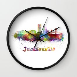 Jacksonville skyline in watercolor Wall Clock