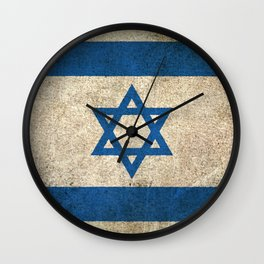 Old and Worn Distressed Vintage Flag of Israel Wall Clock