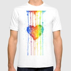 Heart Rainbow Watercolor Love Wins Colorful Splatters MEDIUM White Mens Fitted Tee