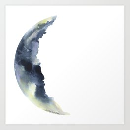 Crescent Moon Watercolor Art Print
