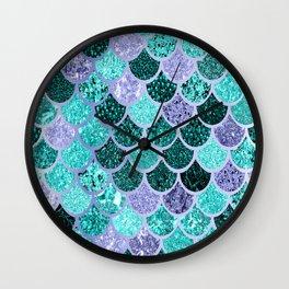 Mermaid, Under the Sea, Mermaid Scales, Teal Purple Wall Clock