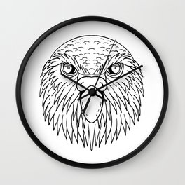 Kakapo Owl Parrot Head Drawing Black and White Wall Clock