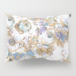 Vintage blush lavender brown teal blue roses floral Pillow Sham