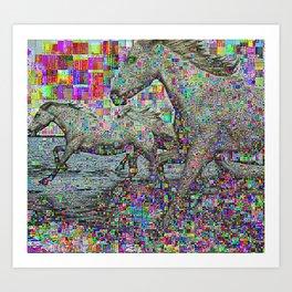 wild glitch horses Art Print