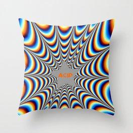 acid funky funny drippy design Throw Pillow