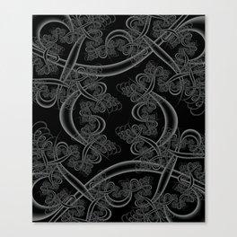 Neutral Gray on Black Fractal Canvas Print
