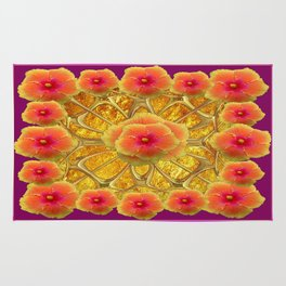 Peachy-Fuchsia Hibiscus Flowers Red Design Rug